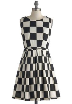 Room and Checkerboard Dress - Black, White, Checkered / Gingham, Pleats, Pockets, Party, A-line, Sleeveless, Scoop