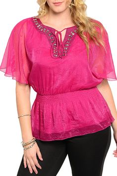 DHStyles Women's Magenta Plus Size Trendy Jeweled Front Tie Up Kimono Top - 1X #sexytops #clubclothes #sexydresses #fashionablesexydress #sexyshirts #sexyclothes #cocktaildresses #clubwear #cheapsexydresses #clubdresses #cheaptops #partytops #partydress #haltertops #cocktaildresses #partydresses #minidress #nightclubclothes #hotfashion #juniorsclothing #cocktaildress #glamclothing #sexytop #womensclothes #clubbingclothes #juniorsclothes #juniorclothes #trendyclothing #minidresses…