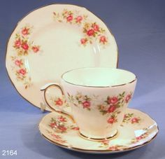 Duchess June Bouquet Vintage Bone China Tea Cup, Saucer and Tea Plate Trio