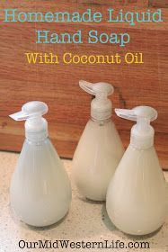 Use Coconut Oil Daily - - Our MidWestern Life: Homemade Liquid Hand Soap With Coconut Oil 9 Reasons to Use Coconut Oil Daily Coconut Oil Will Set You Free — and Improve Your Health!Coconut Oil Fuels Your Metabolism! Homemade Beauty Products, Natural Cleaning Products, Natural Products, Lush Products, Body Products, Diy Savon, Liquid Hand Soap, Coconut Oil Uses, Coconut Oil Soap