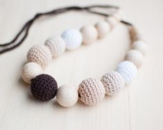 Teething necklace / Crochet nursing necklace - Shades of brown, Neutral