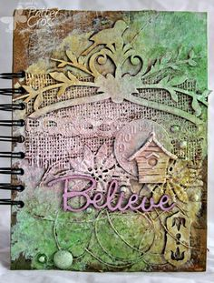Altered journal by Patter Cross using Blue Fern Studios chipboard Spiritually Speaking, Vintage Locks, and Royal Bird Frame.
