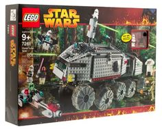 Star Wars Lego Episode III Clone Turbo Tank #7261. LEGO Star Wars Clone Turbo Tank. Includes 3 Clone Troopers, 2 Battle Droids, Sand Trooper/Clone, Mace Windu with light-up lightsaber. Ages 9 years and up. Plastic. Made in USA.