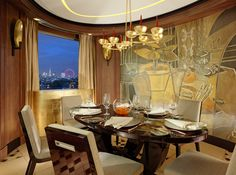 The best views in town! Luxury private dining room in the Penthouse Suite at 45 Park Lane