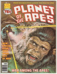 Planet Of The Apes Magazine #22, July 1976, NM-, Low Distribution. Earl Norem cover painting, new story with Rico Rival & Alfredo Alcala artwork, POTA articles with photos: Maurice Evans, Apes in movies. $40