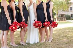 black, white, and red wedding party