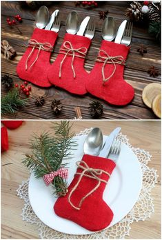 Portaposate di Natale: da non perdere per la vostra tavola! Christmas Decorations Sewing, Sewn Christmas Ornaments, Cricut Christmas Ideas, Christmas Table Settings, Christmas Templates, Christmas Sewing, Handmade Christmas, Holiday Crafts, Christmas Stockings