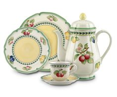 Villeroy and Boch French Garden- gorgeous, durable porcelain dinnerware Moka, Tea Cup Saucer, Tea Cups, Pause Café, Four Micro Onde, Casual Dinnerware, Cafetiere, Orange Pattern, China Plates