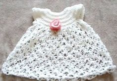 Free Crochet Baby Dress Solomon's Knot Pattern.