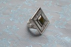 Vintage Signed Navajo Green Turquoise Shadowbox Sterling Silver Mens Ring Sz.7