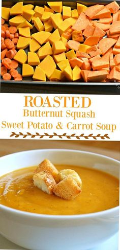 Healthy Low Fat Packed with nutrition  roasted sweet potatoes carrots and butternut squash simmered in broth with warm spices like cinnamon  nutmeg ... Sweet Potato Carrot Soup, Sweet Potato Recipes, Potato Soup, Paleo Butternut Squash Soup, Roasted Sweet Potatoes, Clean Eating Snacks, Healthy Recipes, Carrots, Cinnamon