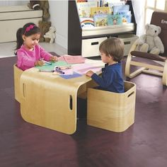 Multi Function Table & Chair Set: One Step Ahead Exclusive! One gorgeous kids' furniture set that works like three! It's a kids' table and chair set.a desk, chair, and bookshelf.a bench with side tables. Modern Table And Chairs, Table And Bench Set, Kids Table And Chairs, Desk And Chair Set, Kid Table, Desk Chair, Cube Chair, Play Table, Desk Set