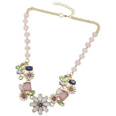 Coloful Rhinestoned Flowers Pendants Necklace (125 CZK) ❤ liked on Polyvore featuring jewelry, necklaces, blossom necklace, rhinestone pendant necklace, rhinestone necklace, rhinestone flower necklace and flower jewelry