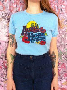 Vintage RARE 1977 Aloha Hawaii Blue T Shirt by MoodyLordsVintage, $60.00