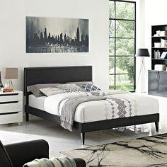 Lyka Full Vinyl Platform Bed with Squared Tapered Legs