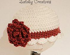Crochet Baby Hat, Baby Girl Hat, Newborn Beanie, Baby Newborn Hat, Baby Beanie, White, Crimson, Beanie, Newborn Baby Hat - Item # CBH0012F