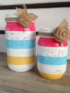 Summer decor bright colored painted mason jars rustic distressed summer decor mason jar decor on Etsy, $16.00
