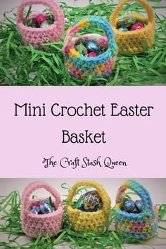 For Beginners Basket Crochet these cute mini Easter baskets! They work up quickly so you still have time to complete them before Easter. This is a perfect project for beginners. Holiday Crochet, Crochet Gifts, Easy Crochet, Crochet Baby, Kawaii Crochet, Easter Crochet Patterns, Craft Stash, Crochet For Beginners, Easter Crafts