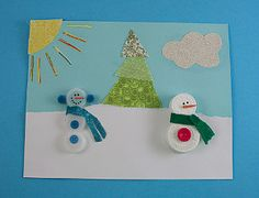 Plastic Lid Snowman Art Project