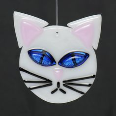 White Cat With Blue Eyes Fused glass ornament by Artdefleur, $12.00