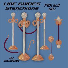 3D Model Line Guides Stanchions - 3D Model