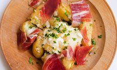 Earthy, meaty, herby, creamy: new potatoes, ham and crème fraîche.