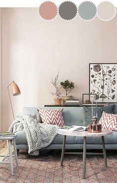 New Living Room Inspiration Grey Pink Ideas Living Room Color Schemes, Paint Colors For Living Room, Living Room Colors, Living Room Designs, Colour Schemes, Cozy Living Rooms, Living Room Grey, Living Room Sofa, Rooms Ideas