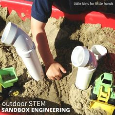 Early learning engineering play and sensory play right in the sandbox. Simple materials are perfect for young children to explore engineering play hands-on. Sensory Bins, Sensory Play, Sensory Table, Sandbox Sand, Sand House, Play Yard, Play Spaces, Stem Activities, Early Learning