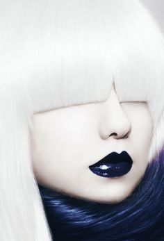 "Snow ""Bobtail"" Bangs & Navy Lips Contrast... Cool!"