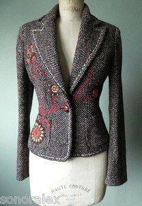 Très jolie veste cintrée LAINE marron chiné broderie fleurs NAFNAF T40
