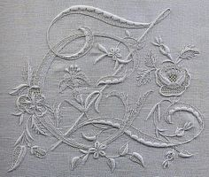 ♒ Enchanting Embroidery ♒  monogram on linen