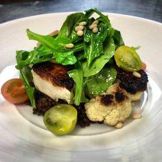 "Arterra Del Mar's vegetarian California ""Steak"", made with seared cauliflower, black beluga lentil, arugula, and pine nuts. #northcounty #dining"
