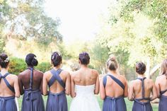 Love how these versatile dresses can make each bridesmaid look unique!