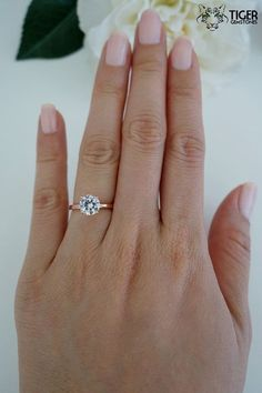 1.5 carat 7mm Solitaire Engagement Ring Round by TigerGemstones #solitairering