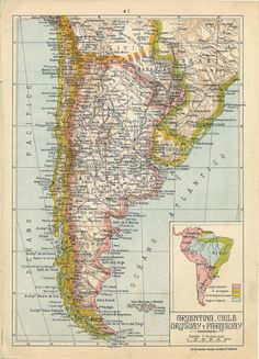 Vintage Maps, Antique Maps, Image Shows, Globes, South America, Patagonia, Photograph, Typography, Graphics