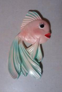 Vintage Lefton Japan Ceramic Angel Fish Wall Hanging bathroom ...