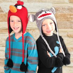 No more monkeys jumping on the bed!  Knit Animal Hats - FREE SHIPPING ON EVERY ORDER!
