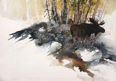"""Moose & Flowers"" untitled 11x14 Watercolor"