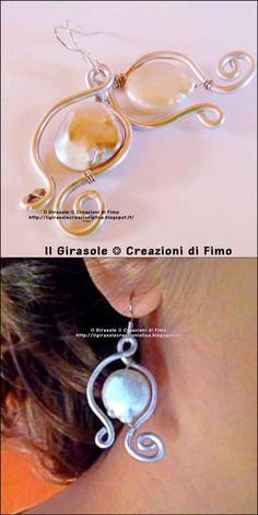 Il Girasole ❂ Creazioni di Fimo: Orecchini pendenti in Wire con perle ovali di Madreperla vera grezza