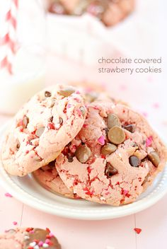 Chocolate Covered Strawberry Cookies are perfect for Valentine's day or any time of year! So easy to make and delicious too.