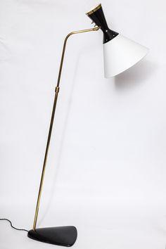 Boris Lacroix; Brass and Painted Metal Floor Lamp, 1950s.