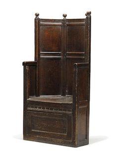Cute An exceptionally rare mid th century oak enclosed box armchair English circa