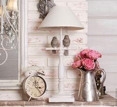 Купить Лампа c птичками - белый, лампа, прованс, с ангелами, дом, Декор, стиль, шебби