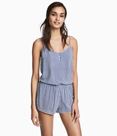 Blue/white striped. Pajamas with a camisole top and shorts in soft, woven viscose fabric with satin trim. V-neck camisole with decorative buttons at top and