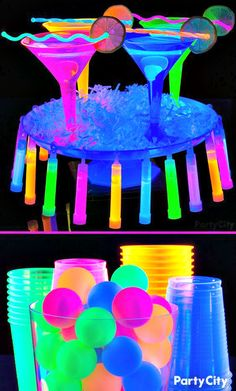 Would you like your birthday party is the most original and fun? Make her subject: Neon; check out these things that you must have to become the best party. Glow In Dark Party, Glow Party, Disco Party, Neon Lights Party, Sleepover Birthday Parties, 18th Birthday Party, Teen Parties, Neon Birthday, Blacklight Party