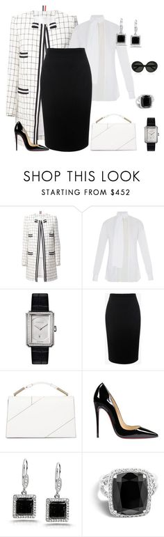 """outfit 3671"" by natalyag ❤ liked on Polyvore featuring Thom Browne, Valentino, Chanel, Alexander McQueen, Jason Wu, Christian Louboutin, Kobelli, John Hardy and Linda Farrow"