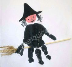 halloween crafts for kids - I don't believe in witches but there are them, there are! Halloween Arts And Crafts, Halloween Crafts For Toddlers, Halloween Crafts For Kids, Halloween Activities, Fall Halloween, Halloween Decorations, Halloween Halloween, Daycare Crafts, Preschool Crafts
