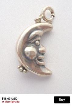 Vintage Puffed Sterling Silver Man in a Half Moon Charm w/ Spring Clasp