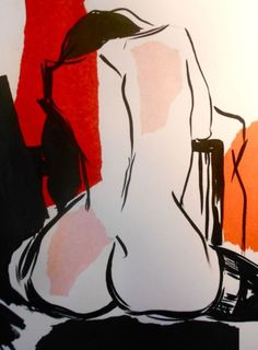 ARTFINDER: Naked Line 3 by Sheila Volpe - Contemporary nude artwork using simple black line with splashes of collage colour. Sold with mount and will fit a standard shop brought frame. Open Art, Life Drawing, Erotic Art, Easy Drawings, Line, Disney Characters, Fictional Characters, Naked, Museum