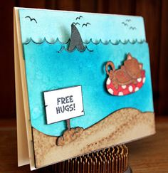 "Beach Shark Card with Sharks  and cat by Larissa Heskett | Shark Week ~ ""Shark Bites"" with Newton's Nook Designs!! =)"